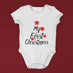 Коледно бебешко боди с къс ръкав My First Christmas