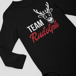 Коледно бебешко боди с дълъг ръкав Team Rudolph Glitter