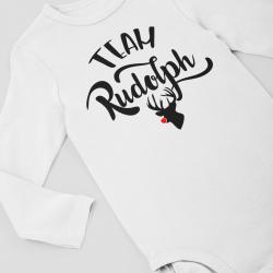 Коледно бебешко боди с дълъг ръкав Team Rudolph