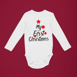 Коледно бебешко боди с дълъг ръкав My First Christmas