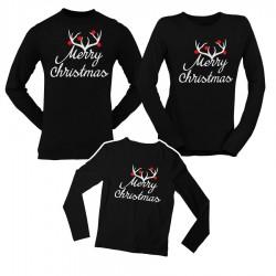 Коледен комплект блузи - Merry Christmas - черен цвят
