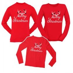 Коледен комплект блузи - Merry Christmas - червен цвят