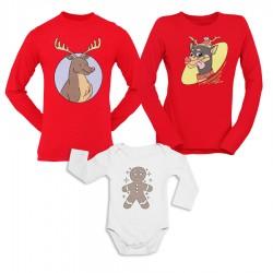 Коледен комплект блузи и боди - Deers and Cookie