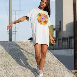 Дамска тениска-рокля с шевица 02
