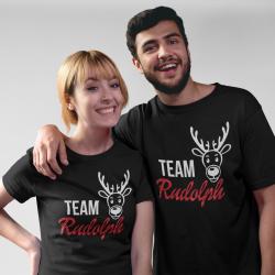 Коледни тениски за влюбени - Team Rudolph Glitter