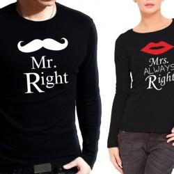 Комплект блузи за влюбени  Mr Right - Mrs Awlays Right