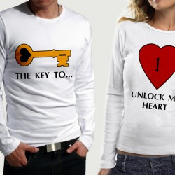 Комплект блузи за влюбени  KEY-HEART