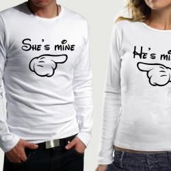 Комплект блузи за влюбени  She`s mine & He`s mine
