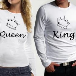 Комплект блузи за него и нея King Queen white