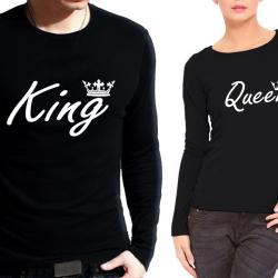 Комплект блузи за него и нея King Queen back