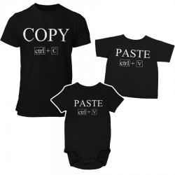 Комплект мъжка и детска тениска или боди Copy Paste