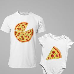Комплект мъжка тениска и детско боди Pizza