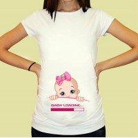 Дамска тениска с щампа за бременни - 09