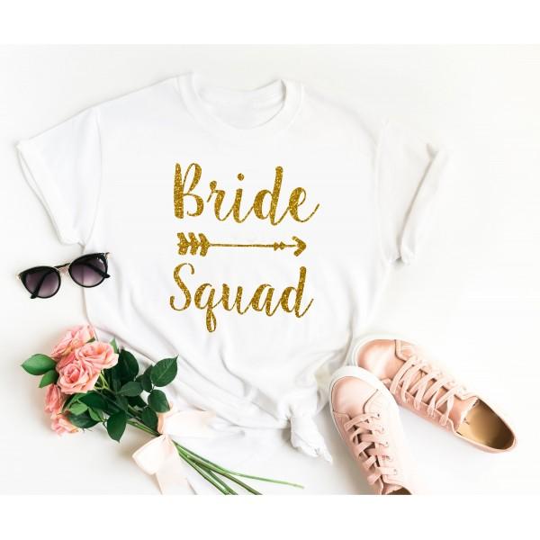 Тениска за моминско парти - Bride Squad Glitter