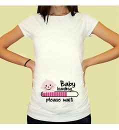 Дамска тениска с щампа за бременни - 01