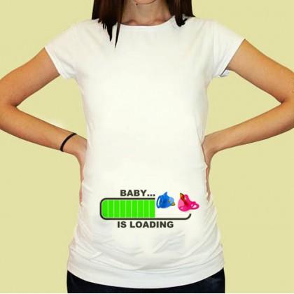 Дамска тениска с щампа за бременни - 14