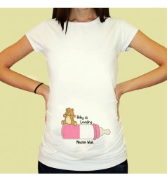 Дамска тениска с щампа за бременни - 02