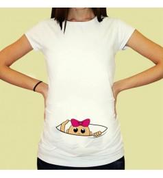 Дамска тениска с щампа за бременни - 04